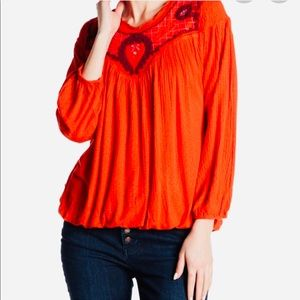 Free People Begonia Embroidered Top.